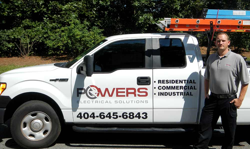 Powers Electrical Solutions service truck. Electrician jobs are available with take home employee vehicle.